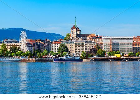 Geneva City Panoramic View. Geneva Or Geneve Is The Second Most Populous City In Switzerland, Locate