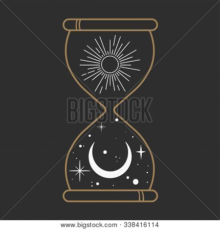 Hourglass Measuring The Night Time. Stars And Moon. Conceptual Idea. Good Nights. Vector Illustratio