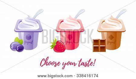 Yogurt Food Icon. Milk Yoghurt. Cream Dessert Set. Cartoon Vector Illustration. Sweet Yougurt With B
