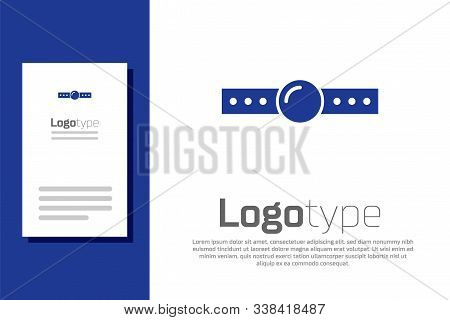 Blue Silicone ball gag with a leather belt icon isolated on white background. Fetish accessory. Sex toy for men and woman. Logo design template element. Vector Illustration poster
