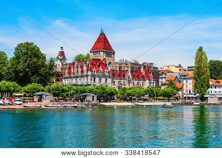 Chateau Douchy Or Castle Of Ouchy Is An Old Medieval Castle In Lausanne City In Switzerland