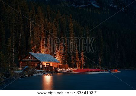Lake Louise boat house at night in Banff National Park Canada