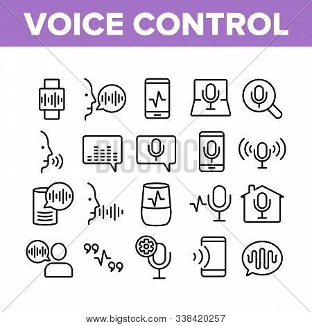 Voice Control Command Collection Icons Set Vector Thin Line. Laptop And Smartphone, Smart Home And A