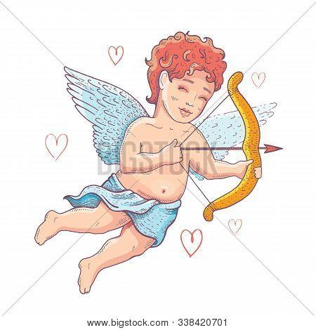 Doodle Cupid Cherub For Valentine Say Card, Wedding Invitation, Logo Design. Cute Cartoon Angel With