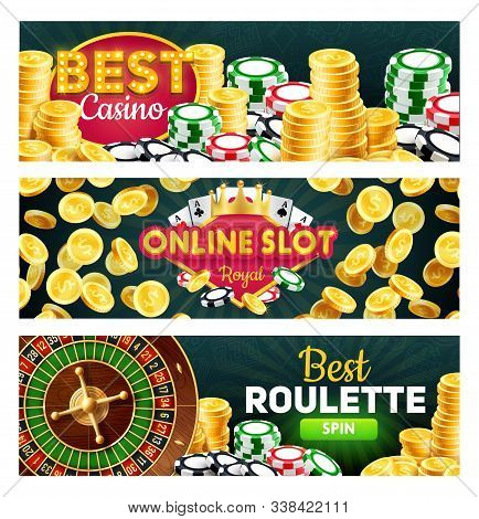 Online Casino, Royal Slots And Roulette Splits, Gambling Games. Vector Wheel Of Fortune And Money St