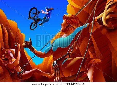 A Vector Illustration Of A Couple Climbing In Between A Canyon Groove. The Woman Is Capturing A Shot