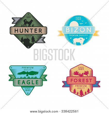 Wild Eagle And Bizon, Hunter And Forest Set Logo