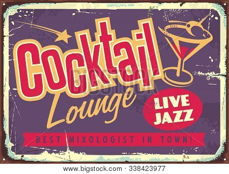 Cocktail Lounge Live Jazz Vintage Colorful Sign With Creative Typography Logo And Glass Of Martini C