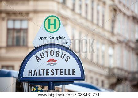 Vienna, Austria - November 6, 2019: Logo Of Wiener Linien On A Local Bus Stop (autobus Haltestelle)