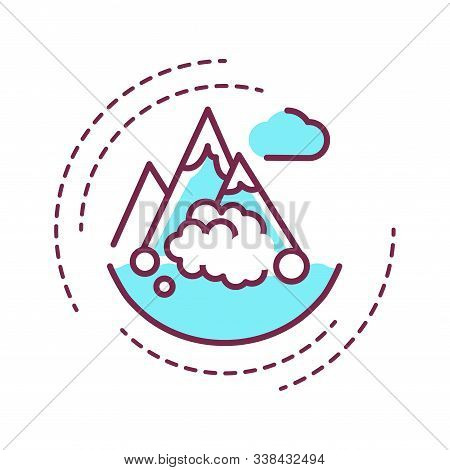 Avalanche Color Line Icon. A Natural Disaster Linked To Snow. When There Is Too Much Snow On A Mount