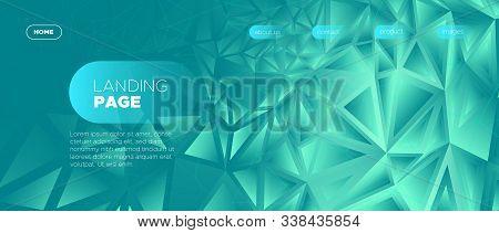 Triangular Landing Page. Gradient Geometric Background. Cyan Minimal Polygonal Banner. Gradient 3d C