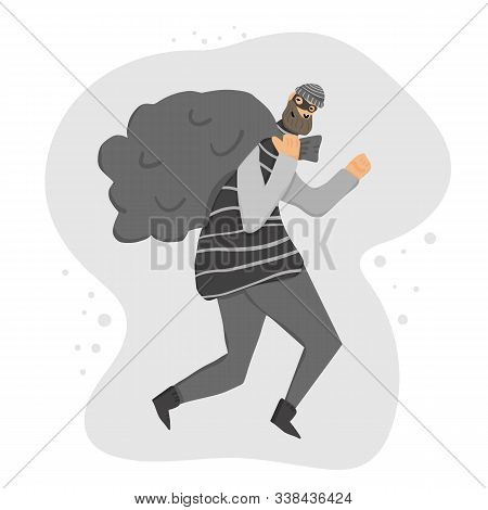Thief With Bag Running Away. Person Dressed In Striped Shirt, Hat And Mask Sneaking With Looted Prop