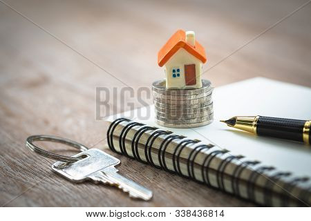 Concept Of Saving Money For House, Savings Money For Buy House And Loan To Business Investment For R