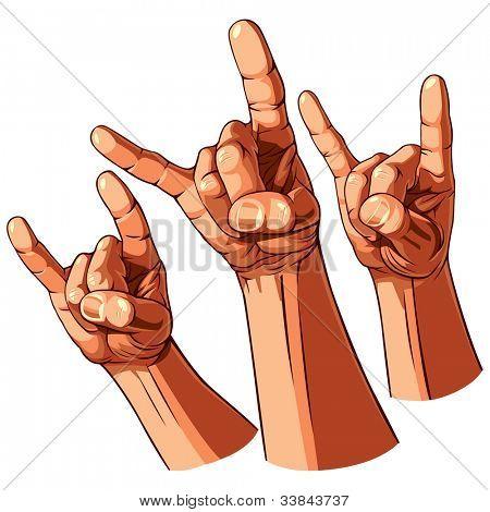 Set of three heavy metal hands. Vector illustration