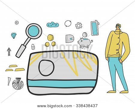 Finance For Teenagers Concept. Financial Literacy For Children. Vector Illustration.