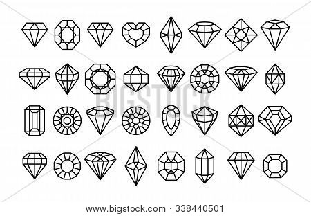 Big Set Of Gemstone Icons In A Linear Minimal Style. Vector Diamonds And Gems Linear Logo Design Ele