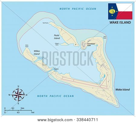 Map Of The Wake Island Atoll An Unorganized Territory Of The United States With Flag