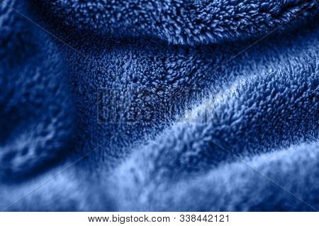 Blue Delicate Soft Background Of Fur Plush Smooth Fabric. Texture Of Fleecy Blanket Textile. Faux Fu