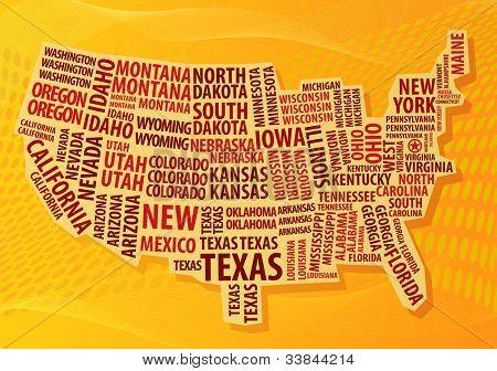 USA word cloud map