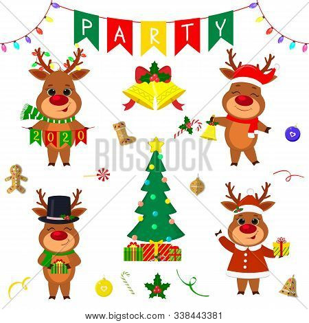 Christmas And New Year Party 2020. Set Of Four Cute Reindeer In Different Costumes. Christmas Tree,