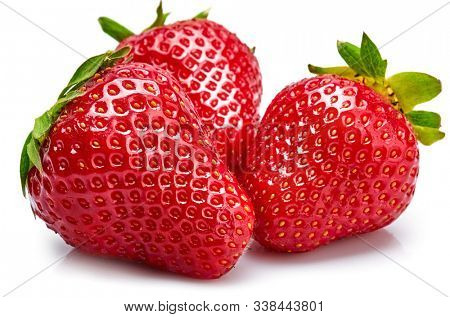 Fresh berry strawberry with green leaf. Fruity still life healthy food. Isolated on white background.