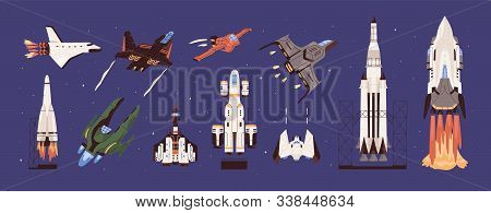 Rockets And Spaceships Vector Set. Spacecraft, Planetary Exploration And Travelling. Cosmic Transpor