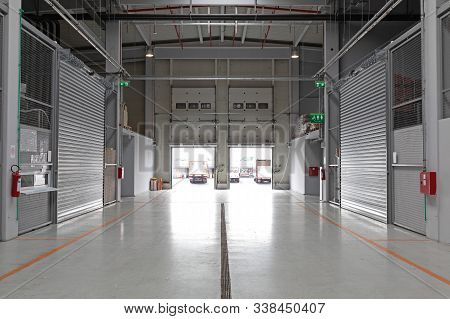 Distribution Warehouse Interior With Two Cargo Doors