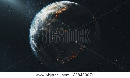 Earth view from space rotation night to day transition. Sunrise sunset skyline. Realistic planet orbit zooming in. Bright sun flare. 3d render animation. Elements of this media furnished by NASA.