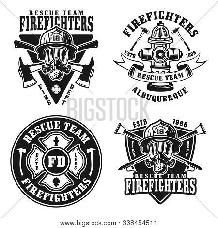Fire Department Set Of Four Vector Isolated Emblems, Badges, Labels Or Logos In Vintage Black And Wh