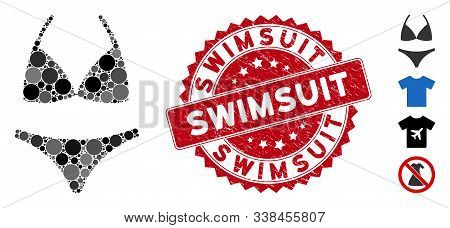 Mosaic Bikini Icon And Rubber Stamp Seal With Swimsuit Caption. Mosaic Vector Is Designed With Bikin