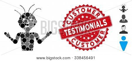Mosaic Boy Icon And Rubber Stamp Seal With Customer Testimonials Text. Mosaic Vector Is Formed With