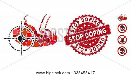 Mosaic Dead Flea Icon And Corroded Stamp Watermark With Stop Doping Caption. Mosaic Vector Is Create