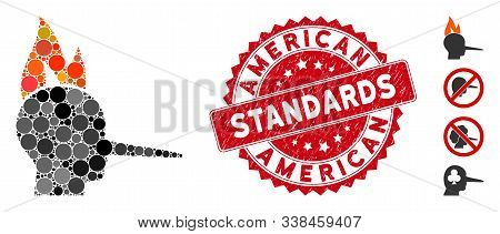 Mosaic Fired Liar Icon And Distressed Stamp Watermark With American Standards Caption. Mosaic Vector