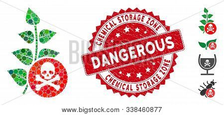 Mosaic Herbicide Toxin Icon And Rubber Stamp Seal With Chemical Storage Zone Phrase. Mosaic Vector I