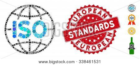 Mosaic Iso Standards Icon And Grunge Stamp Seal With European Standards Phrase. Mosaic Vector Is Com