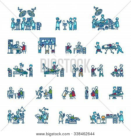Doctors With Man, Woman And Child Patients, Medical Staff, Equipment, Surgery, Laboratory, X-ray, Ul