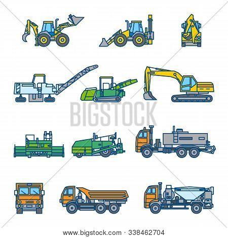 Road Construction Machines. Road Roller, Bulldozer, Excavator, Asphalt Paver, Loader, Truck. Color V