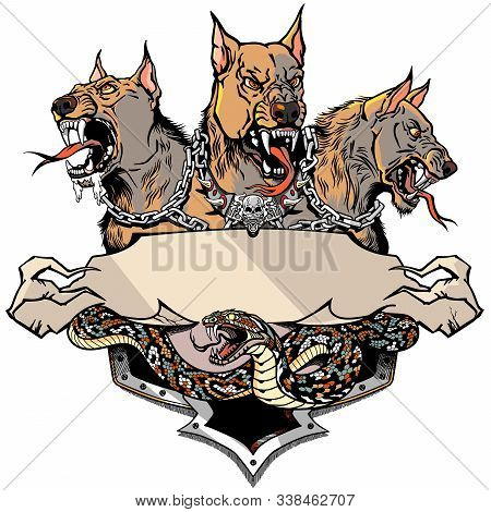 Cerberus Hell Hound And Angry Snake. Mythological Three Headed Dog The Guard Of Entrance To Hell. Ho