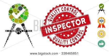 Collage Quality Control Icon And Rubber Stamp Seal With Quality Control Inspector Text. Mosaic Vecto