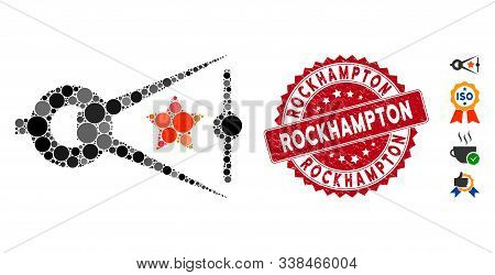 Mosaic Quality Inspection Icon And Rubber Stamp Seal With Rockhampton Caption. Mosaic Vector Is Comp