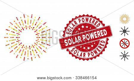 Mosaic Radiation Rays Icon And Corroded Stamp Seal With Solar Powered Phrase. Mosaic Vector Is Forme