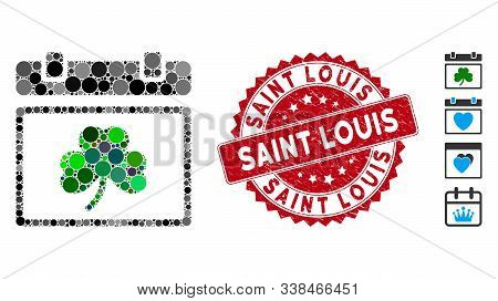 Mosaic Saint Patrick Calendar Day Icon And Rubber Stamp Watermark With Saint Louis Phrase. Mosaic Ve