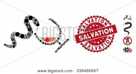 Mosaic Snake Toxin Icon And Grunge Stamp Watermark With Salvation Caption. Mosaic Vector Is Composed