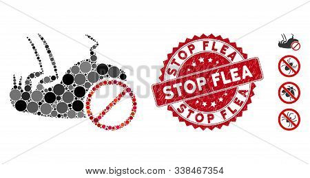 Mosaic Stop Flea Icon And Corroded Stamp Watermark With Stop Flea Caption. Mosaic Vector Is Composed
