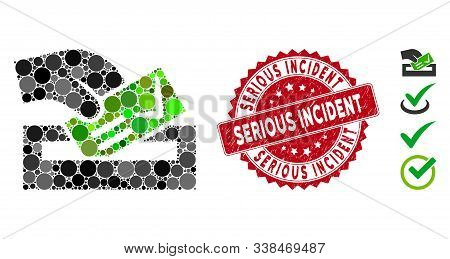 Mosaic Vote Here Icon And Distressed Stamp Seal With Serious Incident Text. Mosaic Vector Is Formed