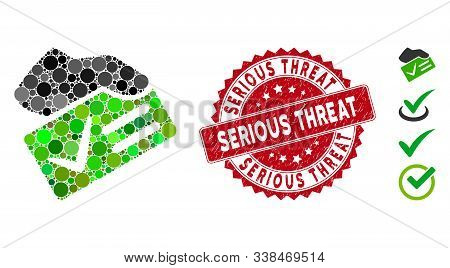 Mosaic Vote Yes Icon And Rubber Stamp Watermark With Serious Threat Phrase. Mosaic Vector Is Formed