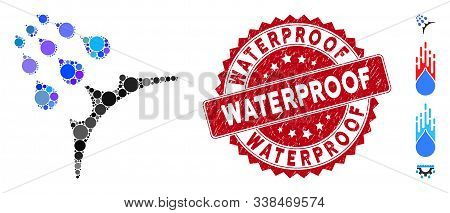 Mosaic Water Proof Icon And Corroded Stamp Seal With Waterproof Phrase. Mosaic Vector Is Formed With