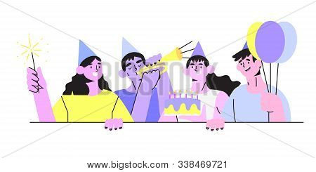 Vector Isolated Illustration Of A Group Of Happy Smiling People Celebrating Birthday Or Anniversary.