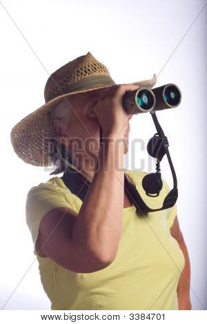 Senior Woman With Binoculars