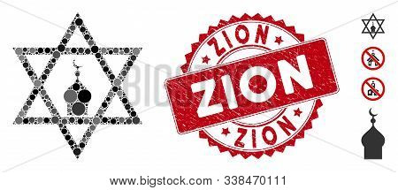 Mosaic Zion Icon And Rubber Stamp Seal With Zion Caption. Mosaic Vector Is Composed With Zion Icon A